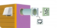 Этот  рисунок  показывает,  как  устанавливать  вентилятор  на  вытяжку.  Для  снижения  шума  можно  установить  резиновые прокладки  или  обернуть  его  плотной  тканью