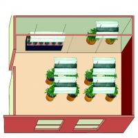 Эта  домашняя  оранжерея  имеет  большую комнату  для  цветения,  вегетативную комнату и угол для клонирования